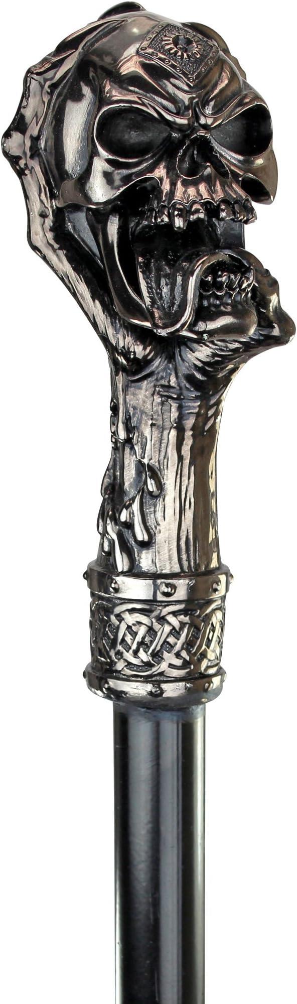 Silver Joker Skull Head Handle Vintage Style Walking Stick Cane Handmade Gift