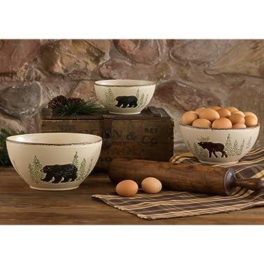 Bear & Moose Stoneware Mixing Rustic Bowl Set - 3 pcs - Lodge Kitchen Tableware