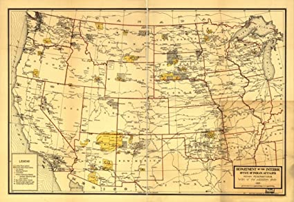 Amazon.com: Map: 1923 Indian Reservations west of the ...