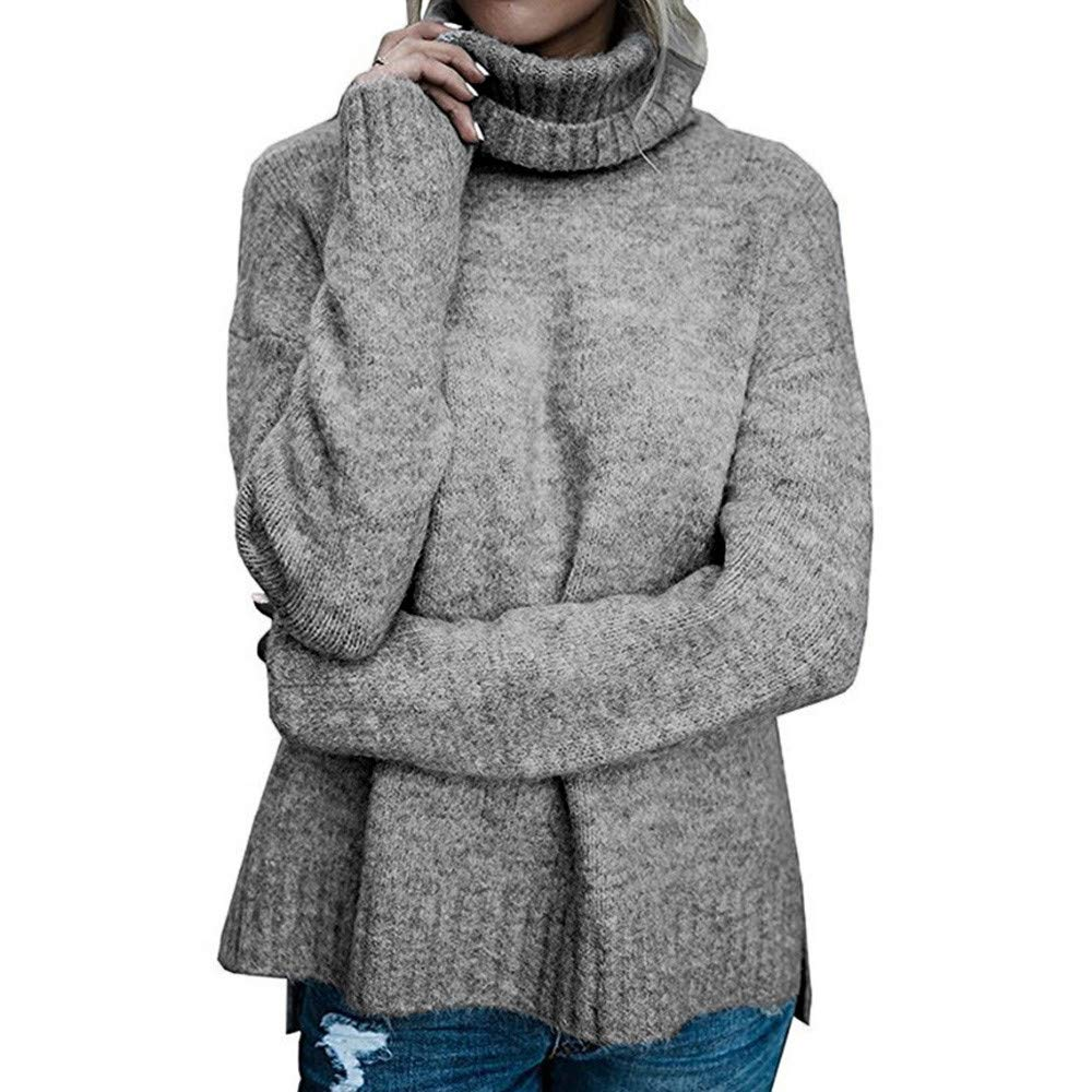 Rambling Women Casual Cowl Neck Knit Long Sleeve Slim Fit Bodycon Loose Sweater