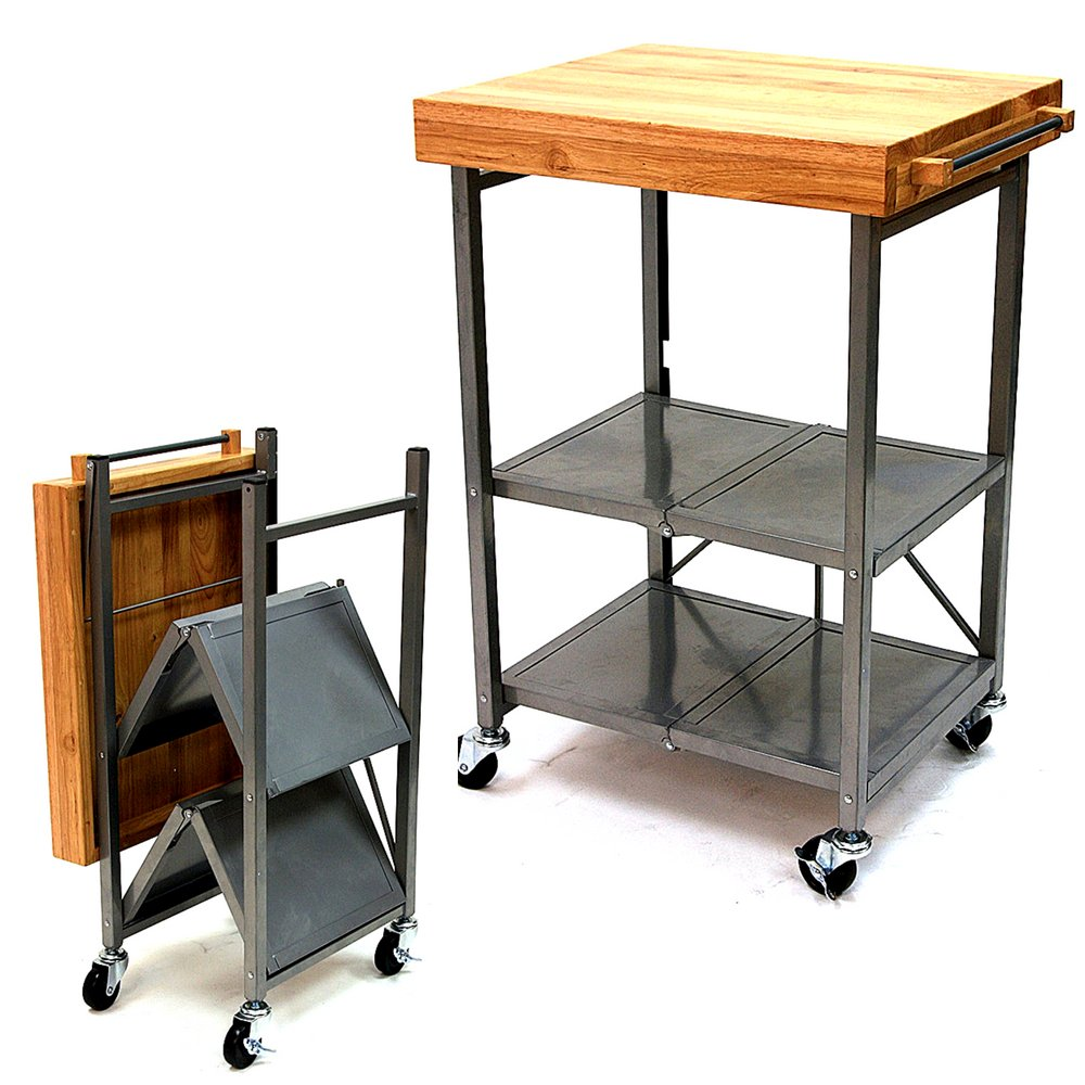 Merveilleux RA Rolling Kitchen Island Cart Wooden Top Metal Frame Foldable Easy To Move  Versatile Side Cart Portable Two Storage Shelves Food Prep Kitchen Serving  Cart ...