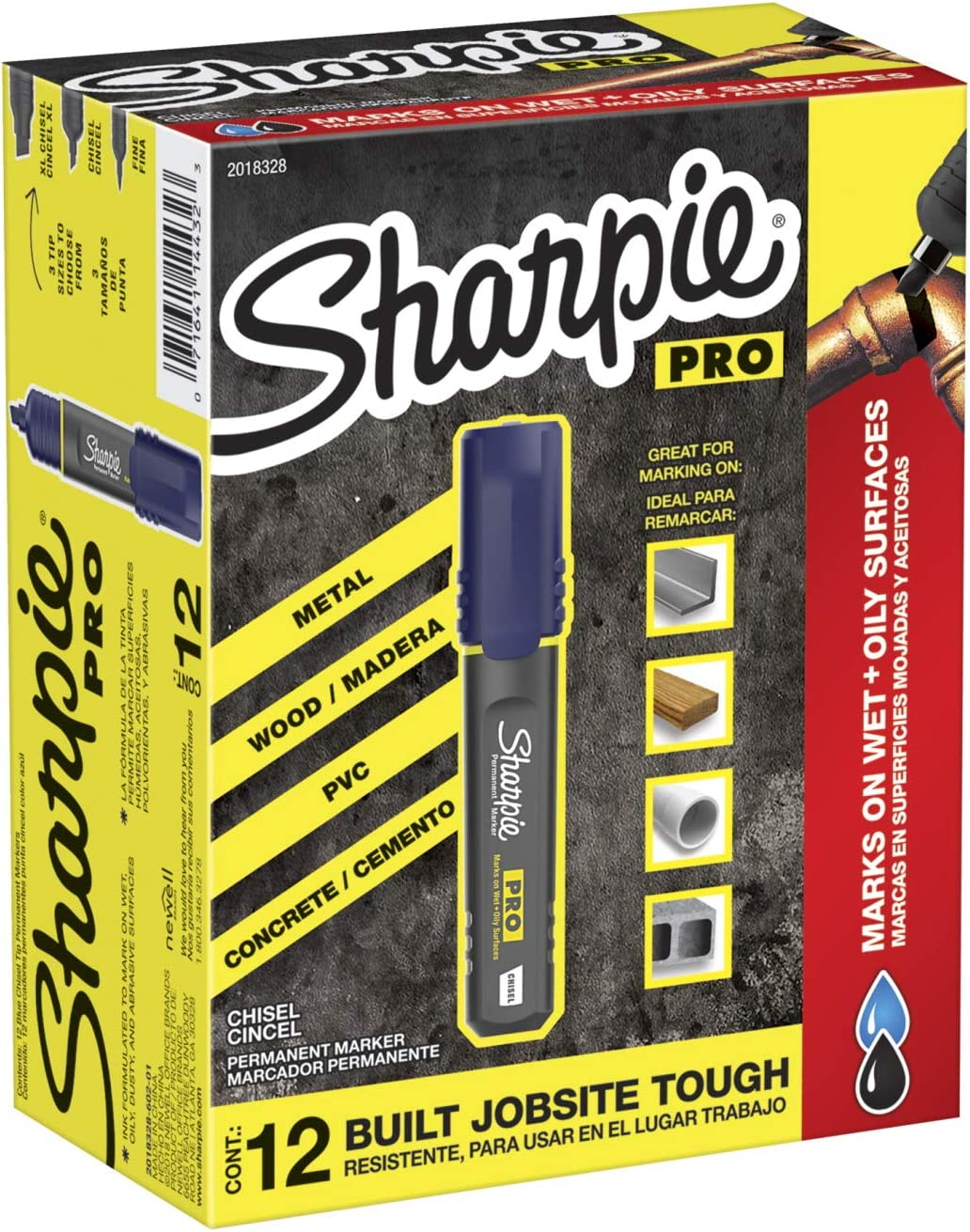 Sharpie Pro Permanent Marker, Medium, Chisel Tip, Red, 12-Count Marker (2018327)