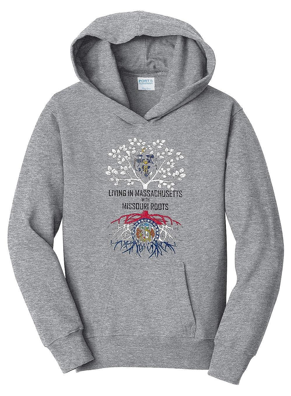 Tenacitee Girls Living in Massachusetts with Missouri Roots Hooded Sweatshirt