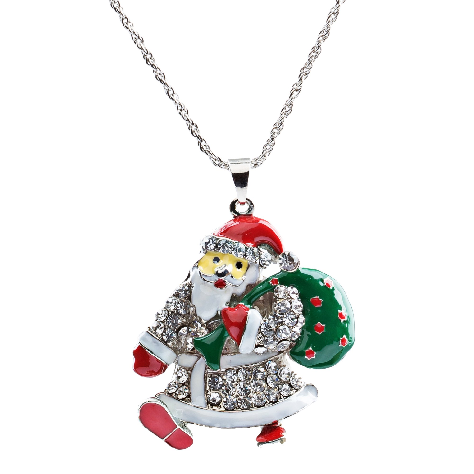 Christmas Jewelry Happy Holidays Crystal Santa Claus Gift Bag Long Necklace