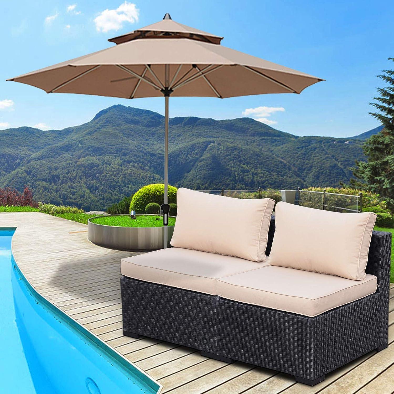 2 Piece Outdoor Sectional Furniture Set Patio PE Black Wicker Rattan Loveseat Armless Chair Sofa with Khaki Cushion