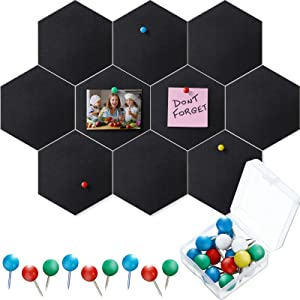 10 Packs Pin Board Hexagon Felt Board Tiles Bulletin Board Memo Board with 20 Pieces Push Pins, Decoration for Home Office Classroom Wall (Black,9 x 7.5 Inches/ 22 x 19 cm)