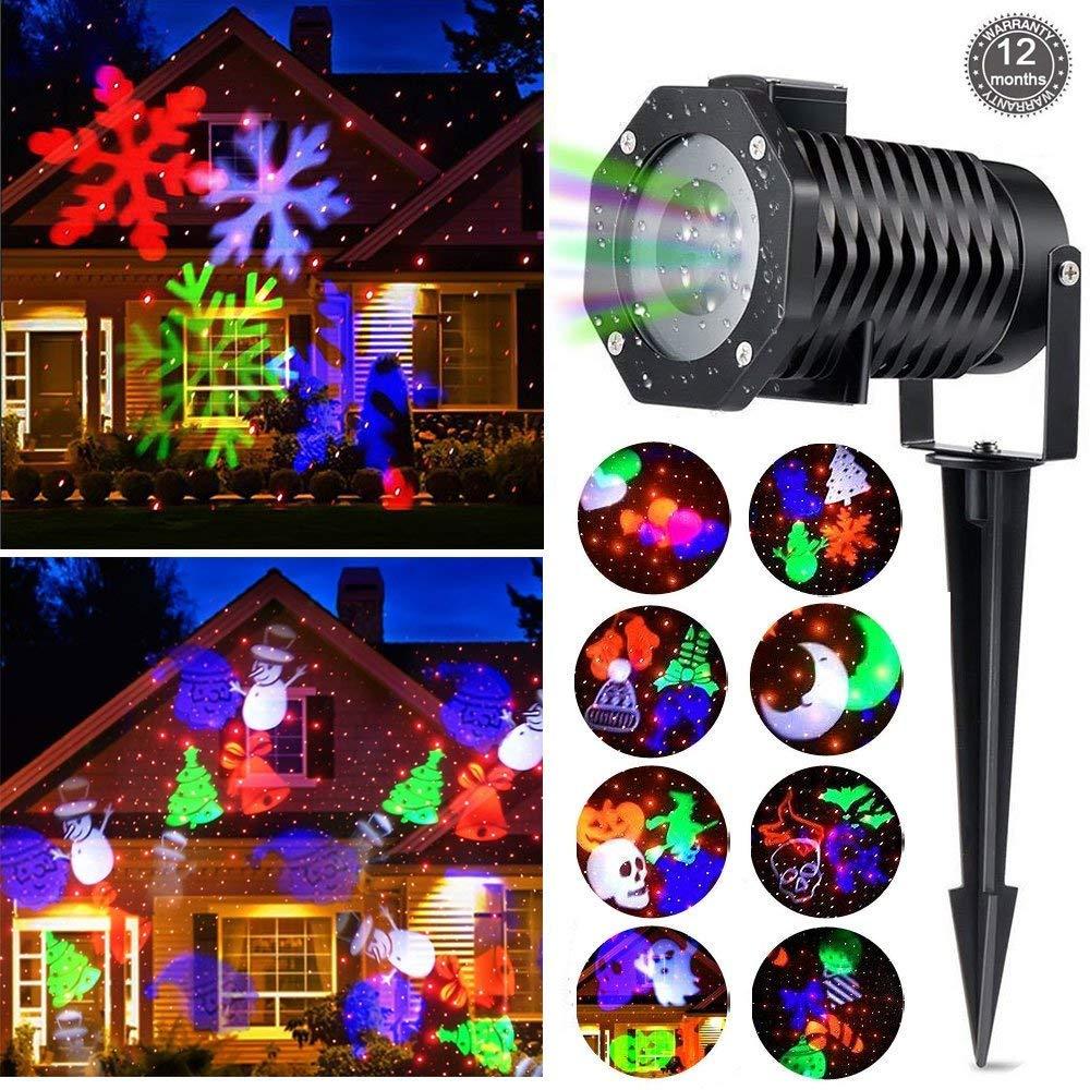 Halloween proyector LED luces, Eulla 10 luces de decoración de Gobo Interior exterior de la casa Fiesta de cumpleaños de la Navidad pared vacaciones ...