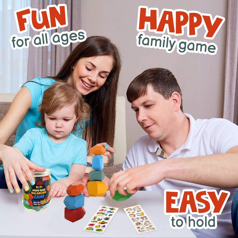 10pcs Stacking Blocks for Kids with a Useful Storage Bottle Natural Rainbow Educational Toy Rock-a-Stack Wooden Rock Balancing Game Set Baby Girl Boy Building Blocks Family Game for Toddler 1-3