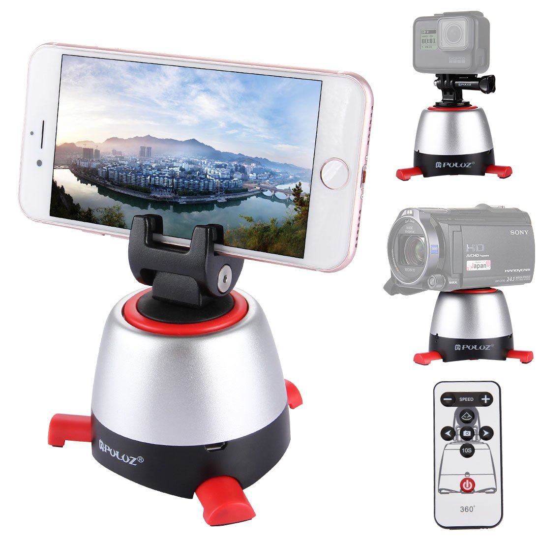 Panoramic Self-timer, PULUZ Electronic Intelligent 360 Degree Rotation Tripod Head with IR Remote Controller & Build-in Bluetooth for Most of Smartphones & Cameras Max load: 1kg/2.2lb