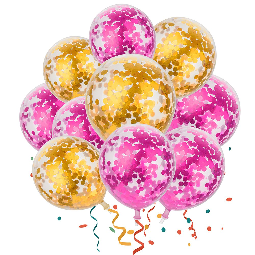 Amazon.com: MESHA Confetti Balloons 12 Inches Party Balloons with ...