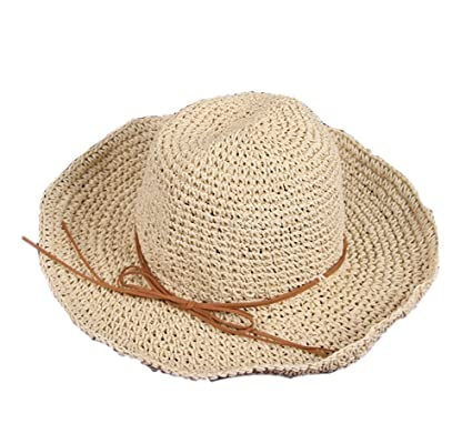 082527e02bc42 Leisial Sombrero de Paja Rafi Hueco Sombrero del Sol de Playa Color Sólido Verano  para Mujer  Amazon.es  Ropa y accesorios