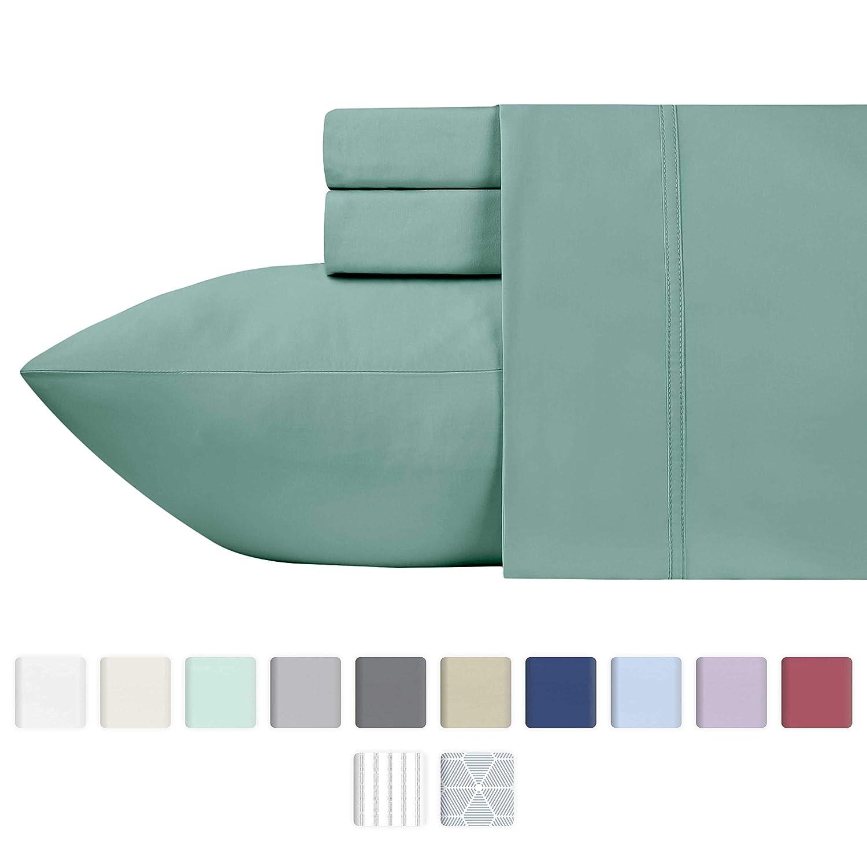 California Design Den 600 Thread Count 100% Cotton Sheets – Sage Long-Staple Cotton Twin Sheets, Fits Mattress Upto 17'' Deep Pocket, Sateen Weave, Soft Cotton 3 Piece Bed Sheets Set