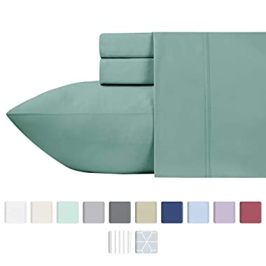 California Design Den 600 Thread Count 100% Cotton Sheets – Sage Long-Staple Cotton Full Sheets, Fits Mattress Upto 18'' Deep Pocket, Sateen Weave, Soft Cotton 4 Piece Bed Sheets Set