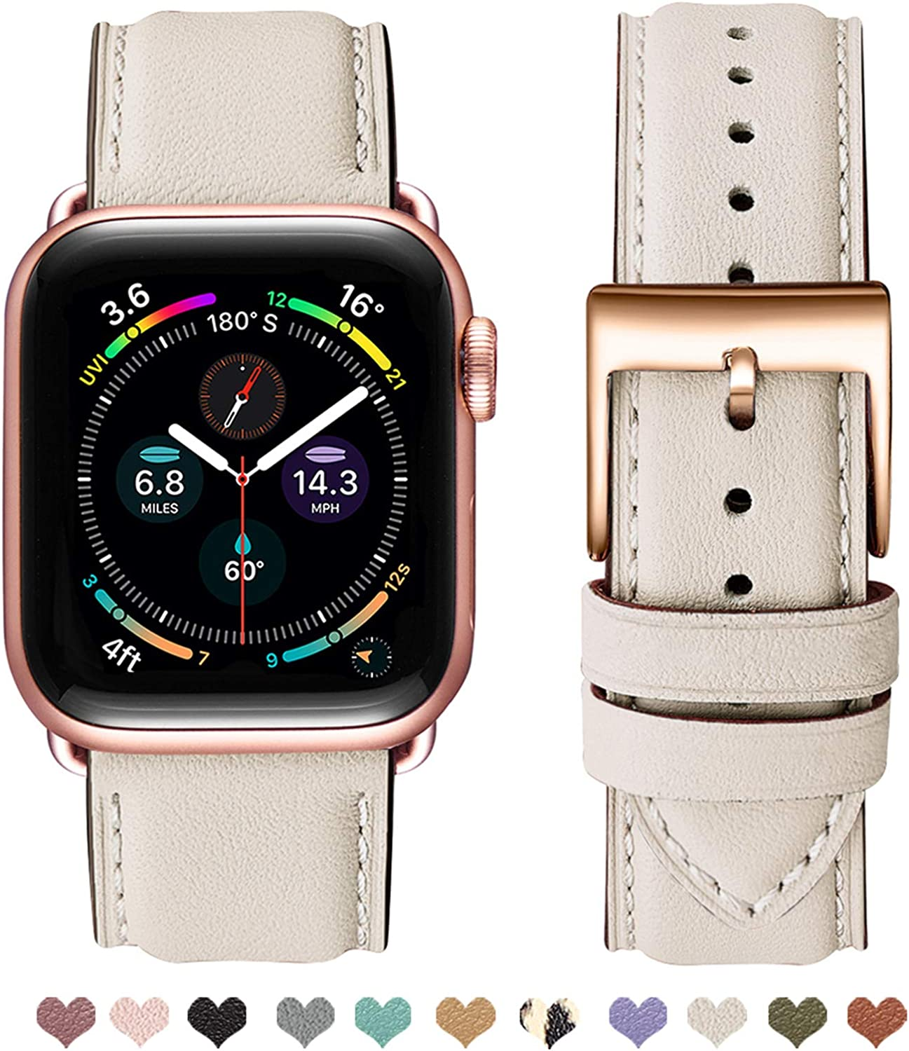 OMIU Square Bands Compatible for Apple Watch 38mm 40mm 42mm 44mm, Genuine Leather Replacement Band Compatible with Apple Watch Series 6/5/4/3/2/1, iWatch SE (Ivory White Strap/Rose Gold Connector, 38mm 40mm)