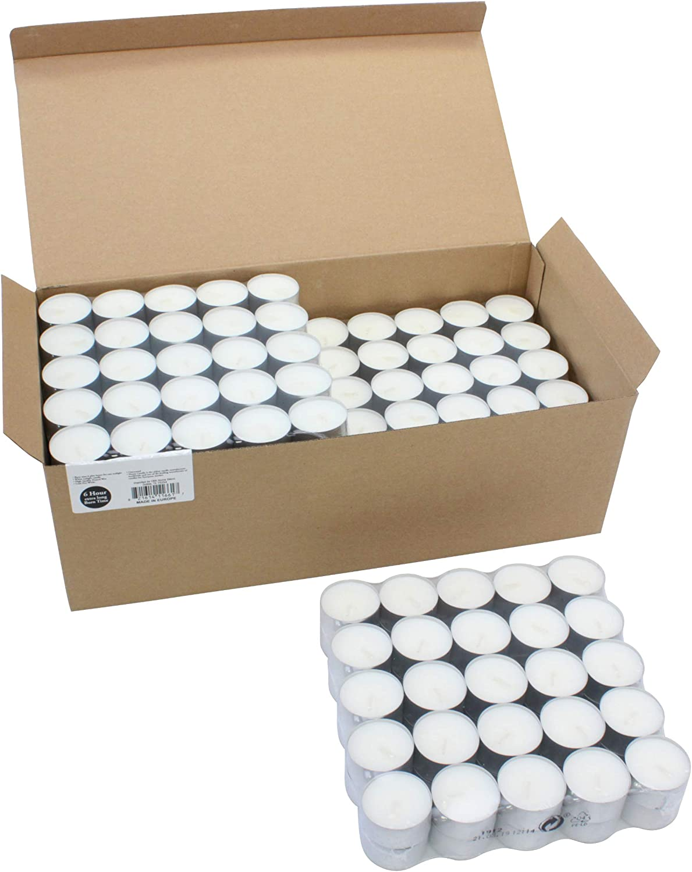 Stonebriar SB-SP-3424A 6-7 Hour Long Burning Unscented Tea Light Candles, 300 Pack, White