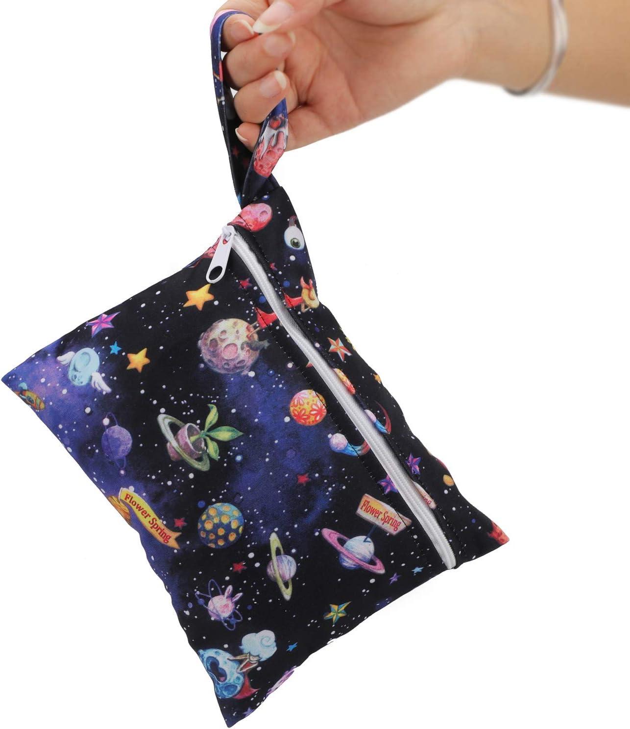 Pin Beige Weryffe Portable Serviettes Hygi/éniques Sac Mignon Imprim/é Menstruel Tasse Titulaire Pad Retrait Pochette Organisateur pour Femmes