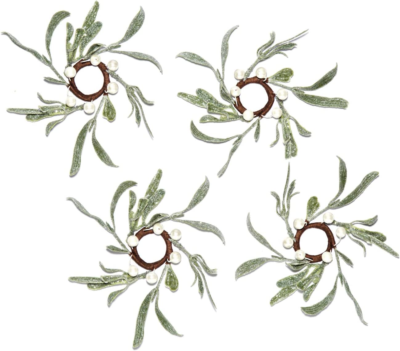 Lamb's Ear Taper Candle Rings - Set of 4, Mistletoe Mini Wreaths with Pearl Accents, for Easter and Spring Home Decor