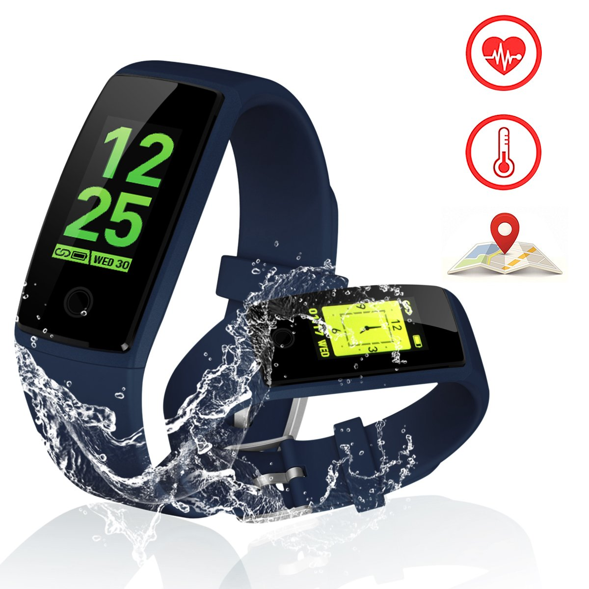 Kirlor Fitness Tracker, V10 New Version Colorful Screen Smart Bracelet with Heart Rate Blood Pressure Monitor,Smart Watch Pedometer Activity Tracker Bluetooth for Android & IOS(Blue)