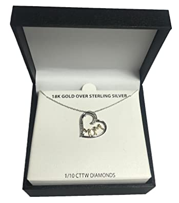 355b2addfad600 Macy's Mom Diamond Heart Necklace in Sterling Silver and 18k Gold 1/10 ct
