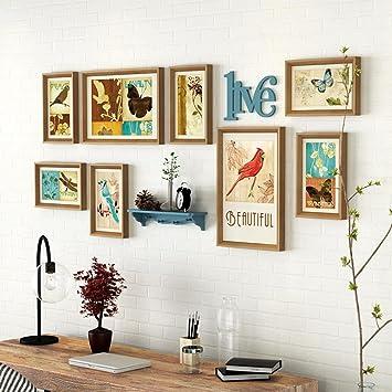 Zuiu0026xiaoyao Fotorahmen Collage Wohnzimmer Massivholz Composite Foto Wand  Kreative Schlafzimmer Großformat Rahmen Hintergrund Dekoration (Farbe