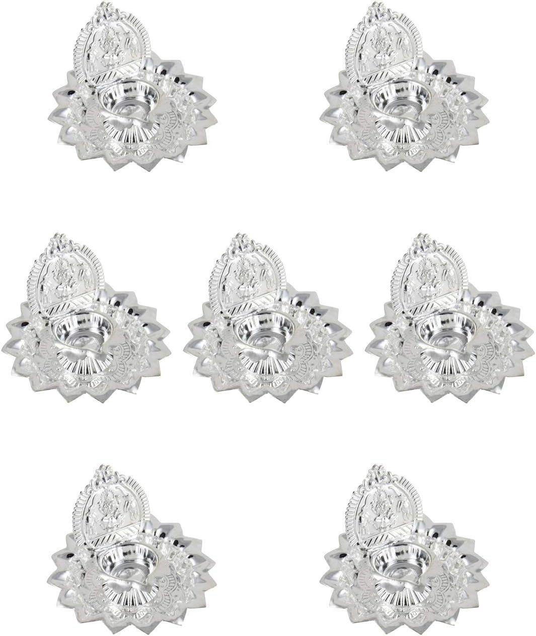 GoldGiftIdeas Silver Plated Gaj Lakshmi Diya Pooja Thali Set, Decorative Diya for Pooja, Indian Pooja Items for Gift, Home Decor Return Gift for Housewarming with Potli Bags (7)
