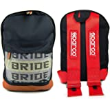 3907ab4ac46 JDM Racing Backpack brown bottom with Red SP Racing Harness Shoulder Straps  Super Cool NEW
