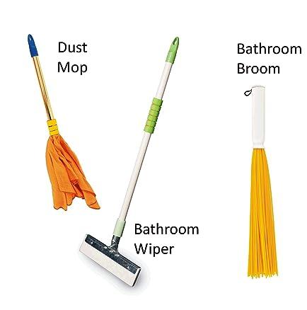 Vimal Ecowipe 250 Mini Size Bathroom Floor Wiper + Duster Dust Mop + Tin  Tin 20u0026quot
