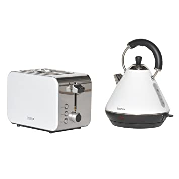 db30b5f8a4ed Igenix IGPK14 Breakfast Set, Pyramid Kettle and 2 Slice Toaster - White:  Amazon.co.uk: Kitchen & Home