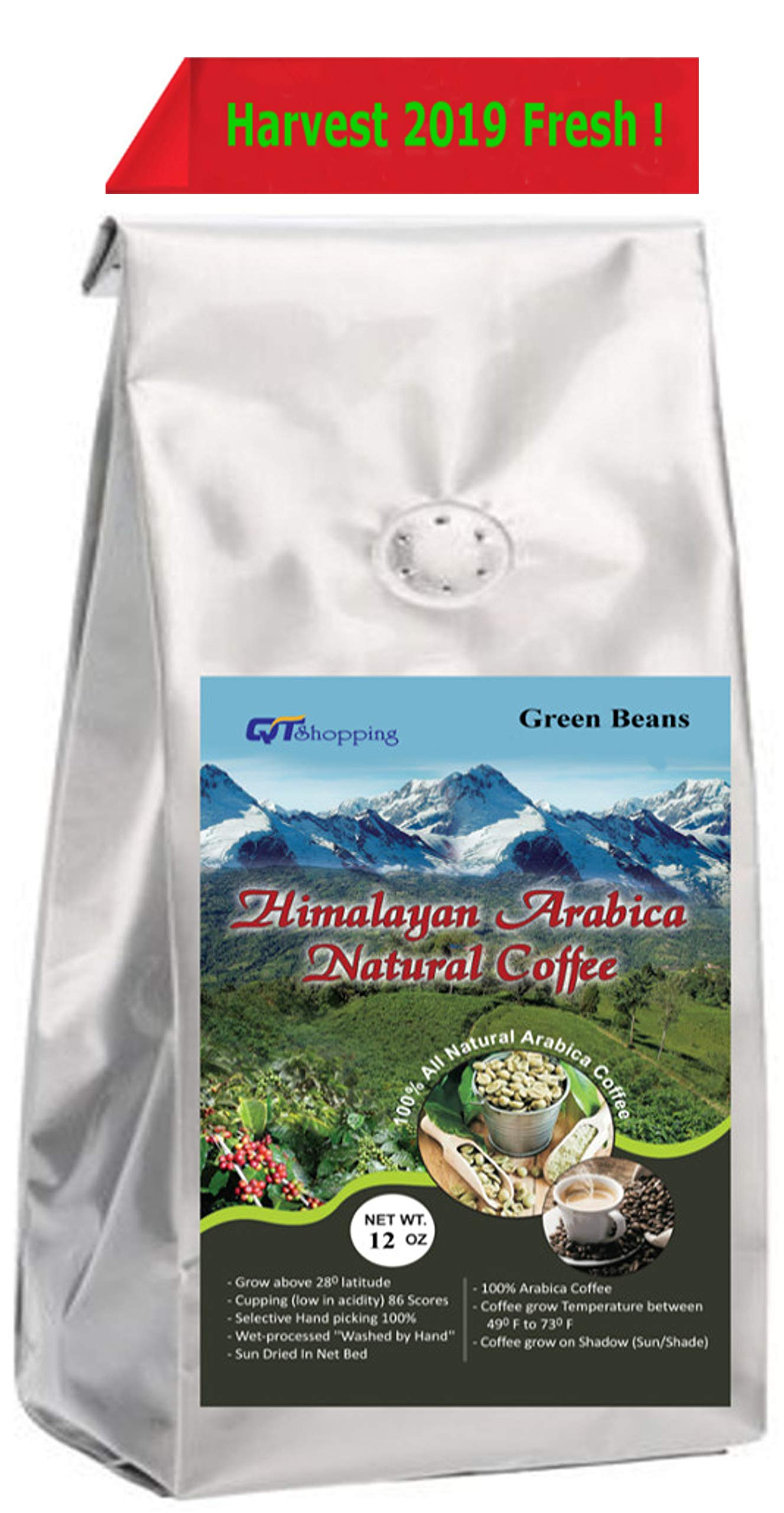 Himalayan Arabica Organic Unroasted Whole Coffee Green Beans - Cupping Score 90 (Value Pack) 100% Hand Picked Sun & Net Dried - World's Best Natural Coffee Grow on High Altitude Of Himalayas, Nepal