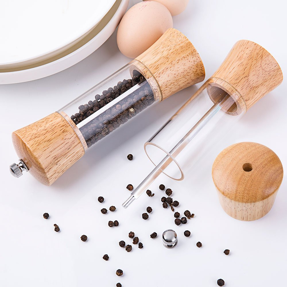 ACEHOOM Pepper Grinder Wood Body Clear Acrylic Window Manual Pepper Mill,6.5'' Tall Body with Ceramic Rotor Adjustable Coarseness Pepper Salt Shaker (wood) by ACEHOOM (Image #3)
