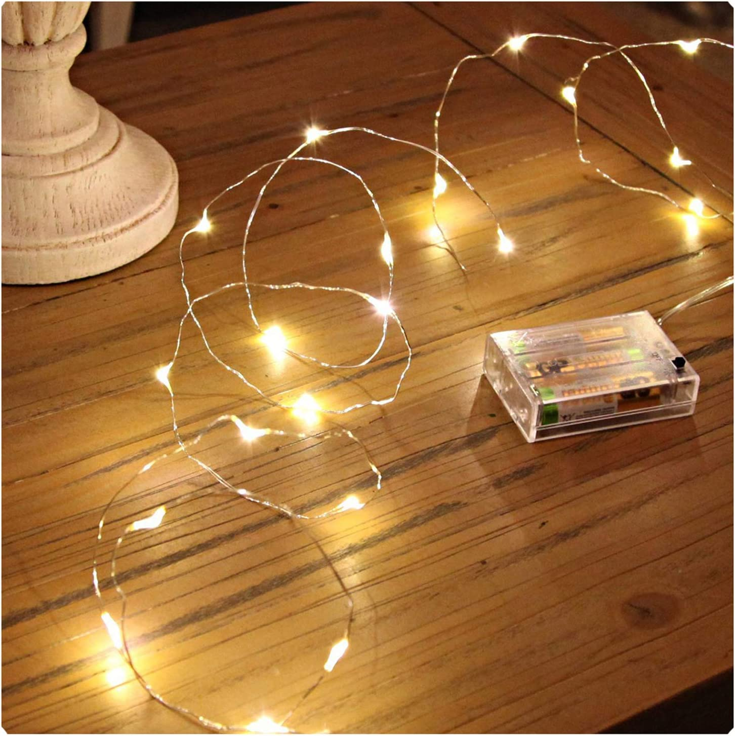 Sanniu Led String Lights, Mini Battery Powered Copper Wire Starry Fairy Lights, Battery Operated Lights for Bedroom, Christmas, Parties, Wedding, Centerpiece, Decoration (5m/16ft Warm White) : Garden & Outdoor