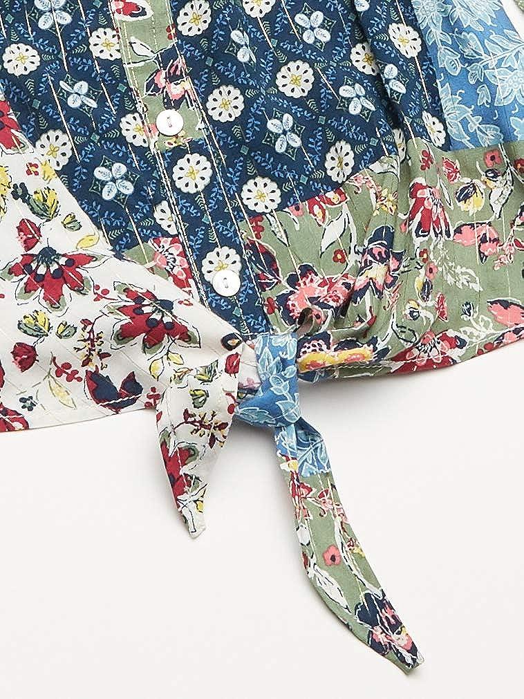 Speechless Girls Tie-Front Ruffle Sleeve Blouse