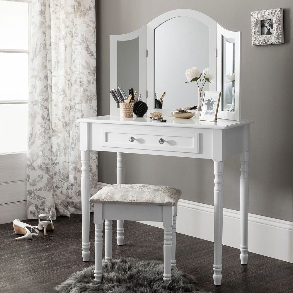 Joolihome bianco da toeletta per camera da letto set di tavolo Vanitiy trucco con specchio ovale, cassetto, imbottitura sgabello, Legno, White, 1 Mirror 5 Drawer 1 Stool