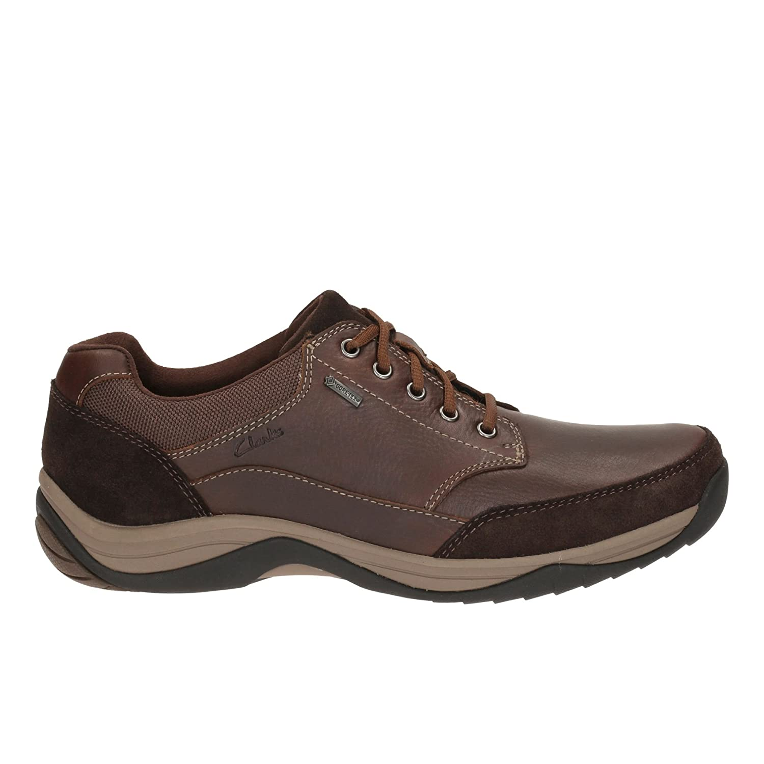 Clarks Men's Lace-up Gore-Tex Shoes BaystoneGo GTX Mahogany Leather