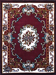 Carpet King Traditional Area Rug Floral Burgundy & Green Persian Kingdom Design D121 (5 Feet X 7 Feet)