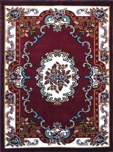 Carpet King Traditional Area Rug Floral Burgundy Green Persian Kingdom Design D121 8 Feet X 10 Feet