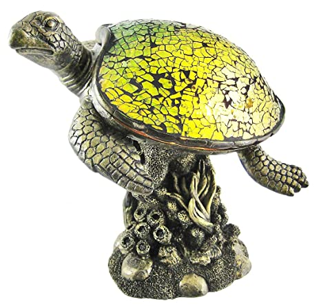 Resin And Glass Accent Lamps Mosaic Green Glass Swimming Sea Turtle Accent  Lamp 8 X 7.25