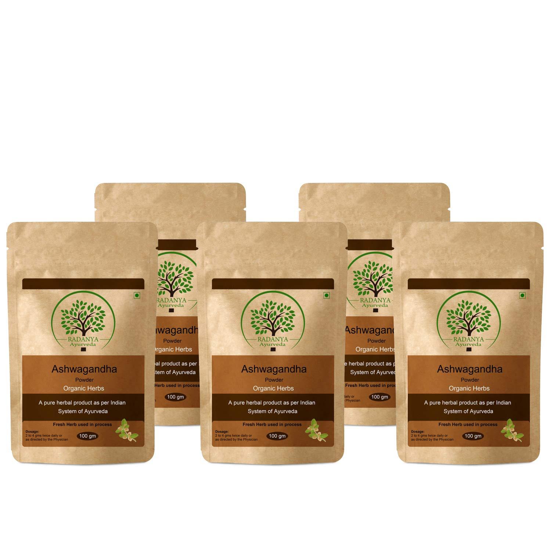 RADANYA Ayurveda Ashwagandha Powder 100 Gram - Indian Pure Natural Essential Organic Herbal Supplement Powder - Pack of 5 by RADANYA Ayurveda