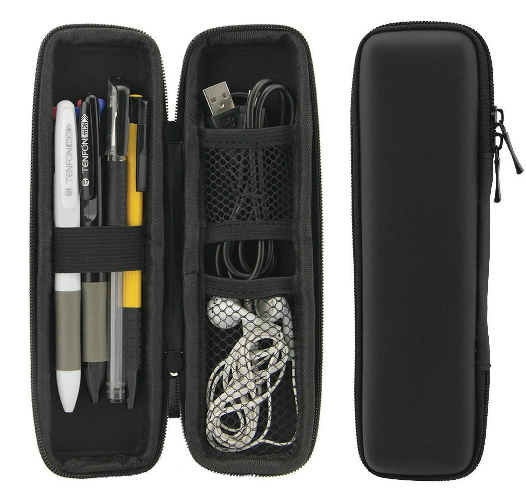 ZILONG Black EVA Hard Shell Stylus Pen Pencil Case Holder Protective Carrying Box Bag Storage Container for Fountain Pen Ballpoint Pen Stylus Apple Pencil USB Cables