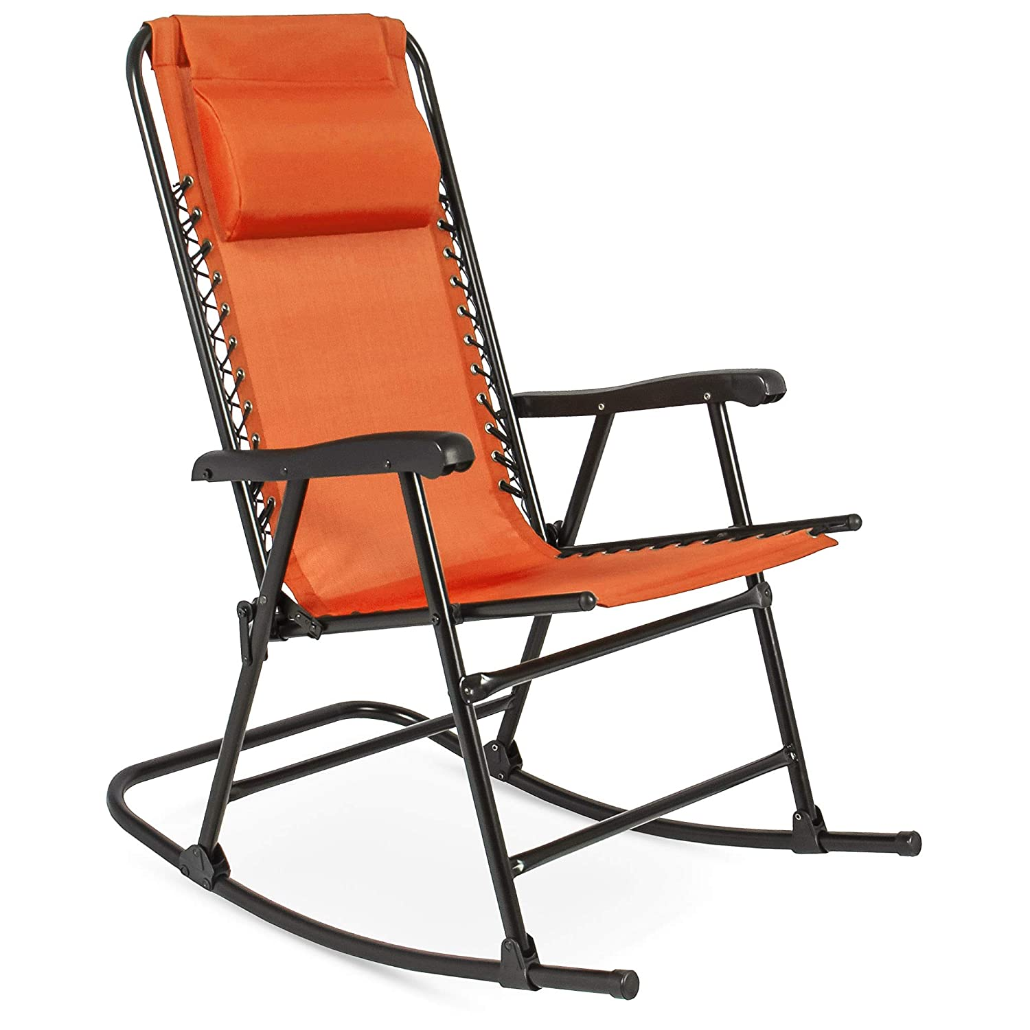 Sensational Best Choice Products Foldable Zero Gravity Rocking Patio Recliner Chair Orange Gamerscity Chair Design For Home Gamerscityorg