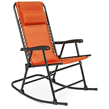 Cool Best Choice Products Foldable Zero Gravity Rocking Patio Recliner Chair Orange Gmtry Best Dining Table And Chair Ideas Images Gmtryco