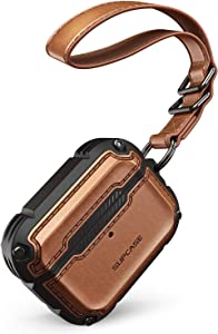 SUPCASE Unicorn Beetle Royal Series Case Designed for Airpods Pro, Full-Body Rugged Protective Cover Case with Hand-Strap for Apple Airpods Pro (Brown)