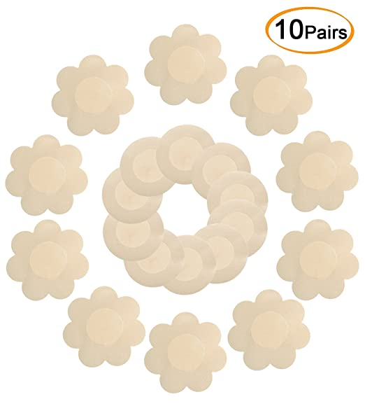 86a3f93b21e9e Image Unavailable. Image not available for. Color  Daisyformals 10 Pairs  Satin Pasties Women Sexy Pasties Disposable Nipple Covers(Flower ...