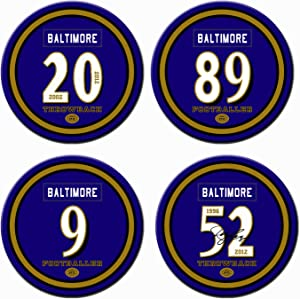 Non Ravens Coasters for Drinks Absorbent, Ceramic Baltimore Football Coasters Set of 4, for Ravens Man Cave Table Mug Cup Glass Home Decor, Ravens Party Supplies Decorations, Ravens Gift for Women Men