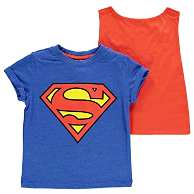 02c242006 Superman Logo & Cape T-Shirt Infant Boys Blue/Red Top Tee Tshirt Shirt