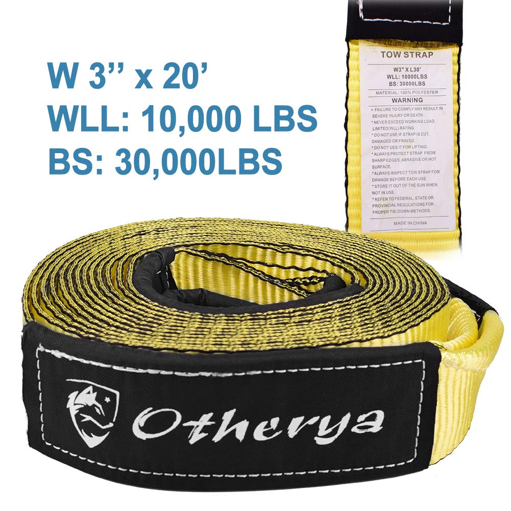 Bonus Storage Bag Recover Your Vehicle Stuck in Mud//Snow Water-Resistant Otherya Tow Recovery Strap 3 x 20 Protective Loops Heavy Duty Winch Snatch Strap Off Road Truck Accessory