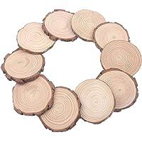 Losas de madera de pino natural sin tratar de 6.7 – 8 pulgadas de diámetro grande 4 piezas de madera maciza para bodas, centros de mesa, proyectos de bricolaje o decoración, E-TWSV05, 1