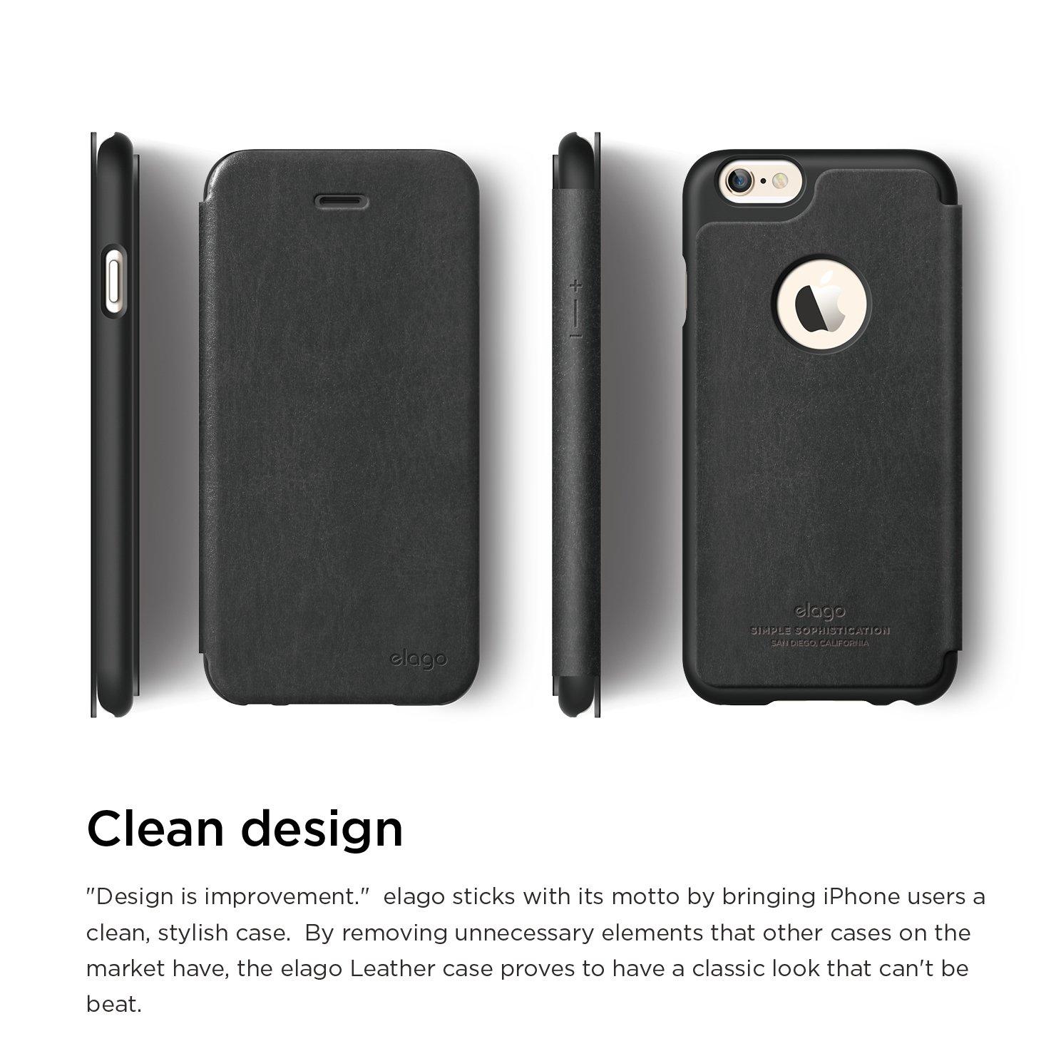 Amazon IPhone 6S Case Elago S6 Leather Apple Logo Cutout Flip