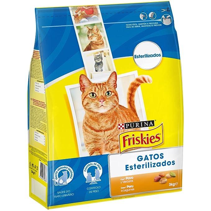 Purina - Friskies - Alimento para Gatos Esterilizados con Pavo y Verduras - 3 kg: Amazon.es: Productos para mascotas