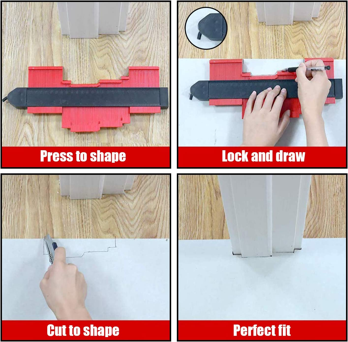 Template Tool with Precisely Copies Irregular and Awkward Shapes-Precise Measurement Tiling Laminate Wood Marking DIY Tool 5 Inch 10 Inch Aaaspark 2 Pack Contour Gauge Shape Duplicator with Lock RED
